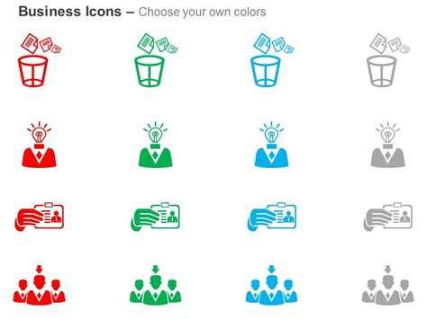 recycle bin idea generation id card team leader  icons