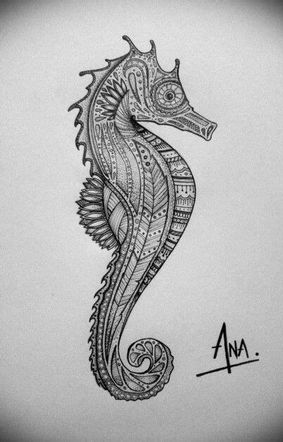 Seahorse zentangle By: Ana Larrotta   My Drawings