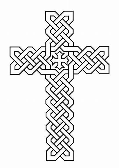 Coloring Cross Celtic Pages Tribal Christian Patterns