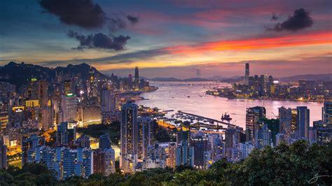 hong kong city  china skyscrapers buildings sunset view  braemar hill   south  hong