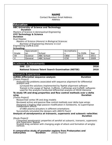 resume format  freshers  engineers