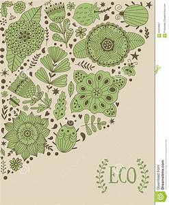 Floral Card Design, Flowers And Leaf Doodle Elements ...