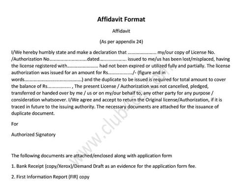 format  affidavit   application