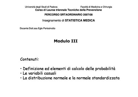 statistica medica dispense concetti dispensa di statistica medica