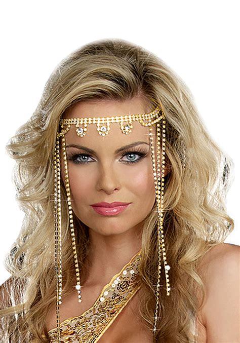 Women's Gold Shimmer Rhinestone Headpiece
