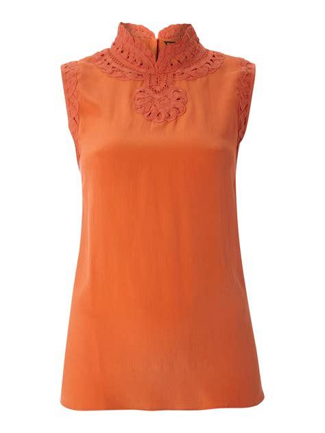 burnt orange blouse biba sleeveless lacework silk blouse in orange burnt