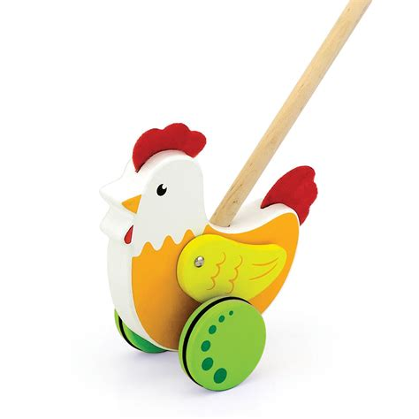 viga toys push toy rooster  classic toys