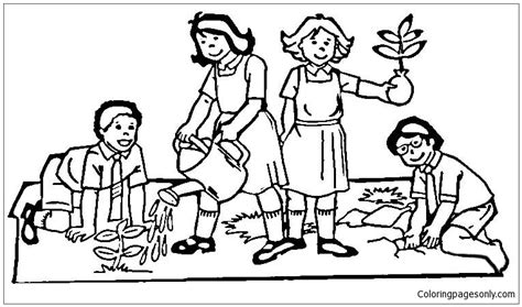 children   world  planting tree coloring page  coloring pages