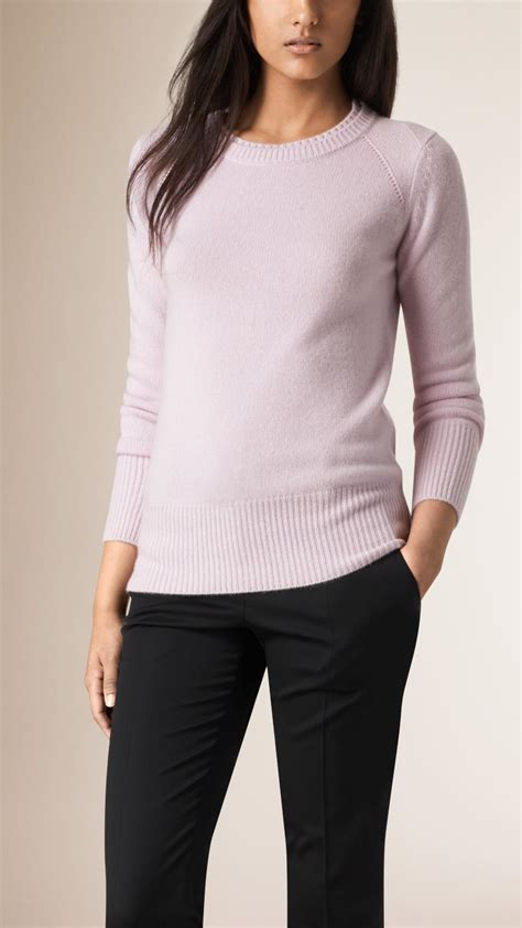 burberry sweater burberry crew neck sweater pale orchid in purple