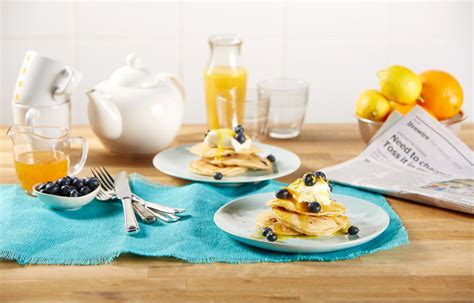 pancakes better homes and gardens coconut blueberry pancakes with cr 232 me fraiche orange syrup better homes and gardens