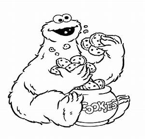 Cookie Monster Eat Cookies from Cookie Jar Coloring Pages ...