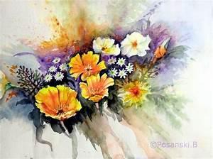 Blumen Bilder Gemalt : kalifornischer mohn blumen kalifornischer aquarellmalerei mohn von burkhard posanski bei ~ Orissabook.com Haus und Dekorationen