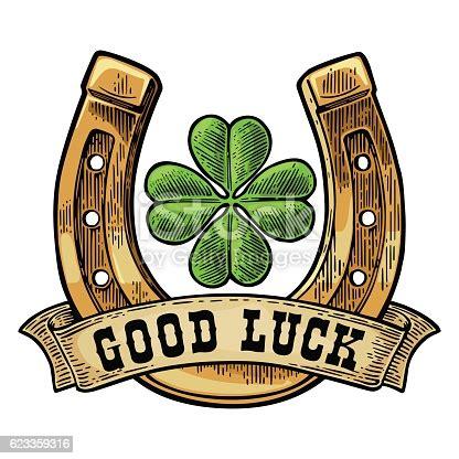leaf clover horseshoe ribbon  text good luck