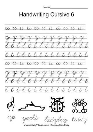 handwriting practice cursive