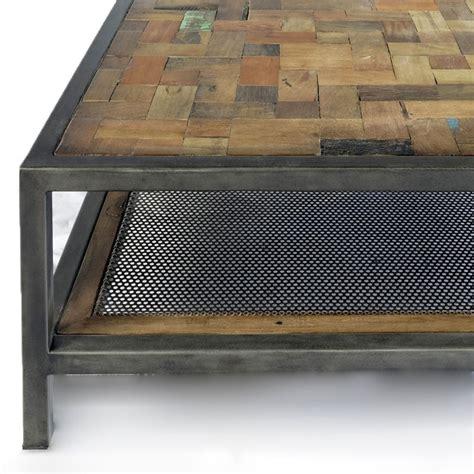 table basse carree bois et fer ezooq