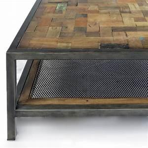 Table Bois Et Fer : magnifique table basse rectangulaire industrielle atelier ~ Premium-room.com Idées de Décoration