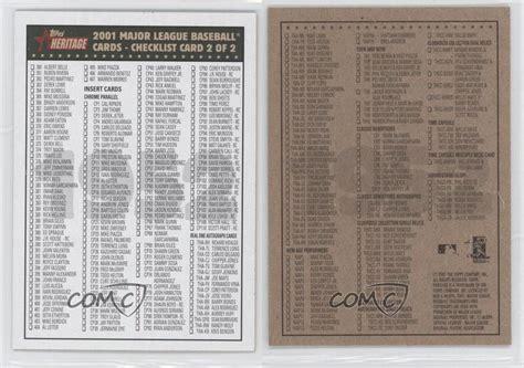 The 1952 topps baseball cards. 2001 Topps Heritage Checklists #2 Checklist Baseball Card ...