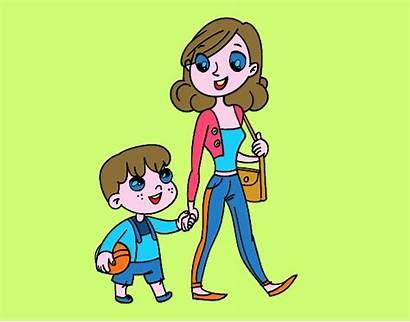 Bambino Che Disegno Cammina Madre Mamma Disegni