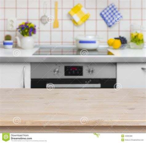 Wooden Tabletop Kitchen by Wooden Table On Blurred Background Of Kitchen Bench Stock