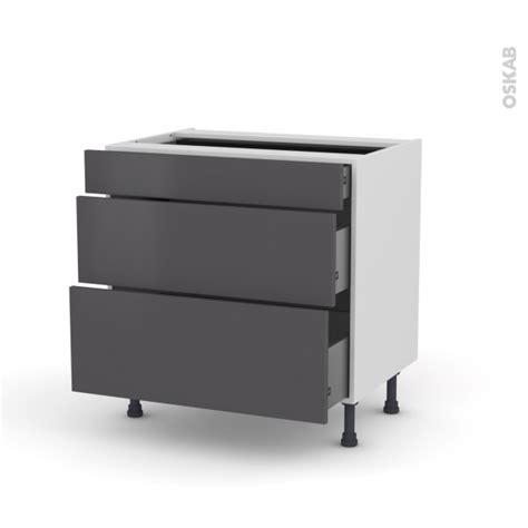 meuble de cuisine casserolier ginko gris 3 tiroirs l80 x