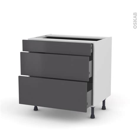 meubles cuisine gris meuble de cuisine casserolier ginko gris 3 tiroirs l80 x