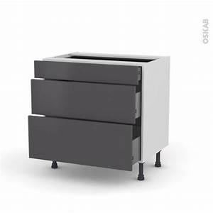 Meuble Cuisine 20 Cm : meuble de cuisine casserolier ginko gris 3 tiroirs l80 x h70 x p58 cm oskab ~ Teatrodelosmanantiales.com Idées de Décoration