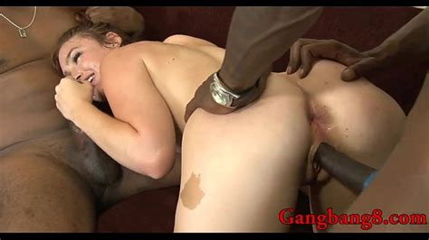 sexy redhead babe interracial gangbang action on the couch xvideos