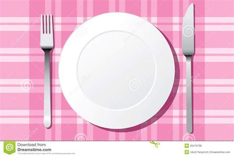 White plate set vector stock vector. Image of eating