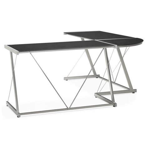 bureau angle en verre bureau d 39 angle design rovigo en verre et métal noir