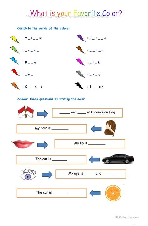 what s my favorite color what is your favorite color worksheet free esl