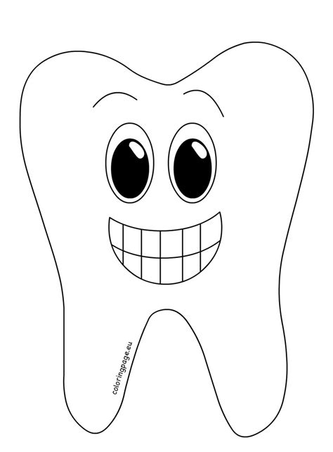 smiling tooth cartoon style coloring page