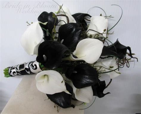 Wedding Bouquet Real Touch Black White Calla Lily Bridal