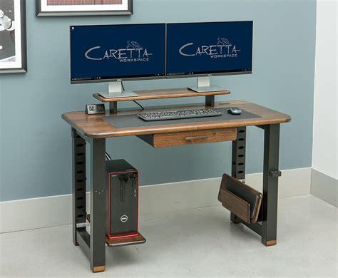 desk with monitor shelf loft desktop riser shelf black walnut caretta workspace