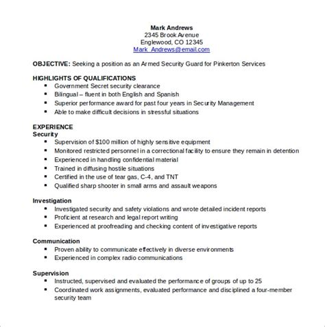 sample security resume templates   ms word