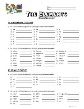 Elements  Review Worksheet {editable} By Tangstar Science Tpt