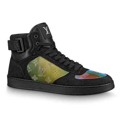 louis vuitton lv men rivoli sneaker boot shoes  suede calf leather black lulux