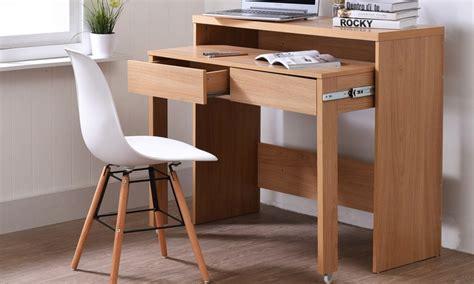 bureau console extensible 2 en 1 console bureau avec 2 tiroirs extensibles groupon shopping