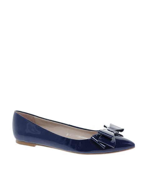 bow pointed flats dune lavish pointed toe bow flats in blue navypatent lyst