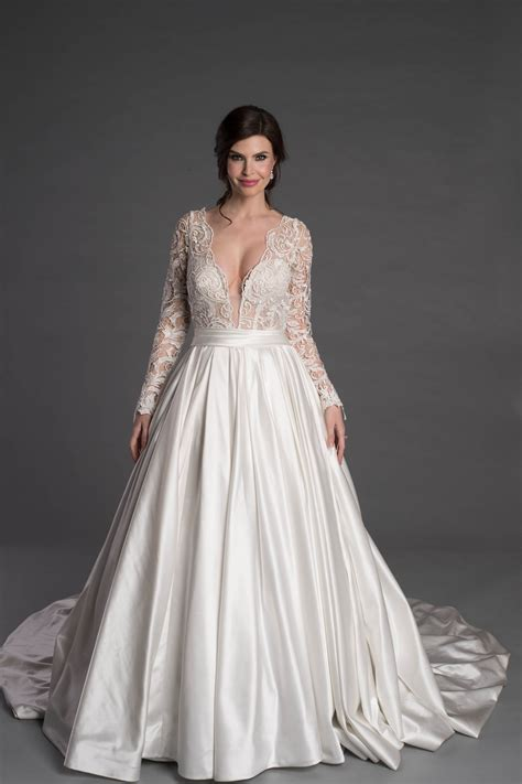 long sleeve ballgown  lace  plunging  neckline