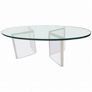 mid century modern oval glass and lucite coffee table for With oval acrylic coffee table