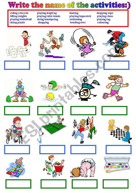 writing the name of leisure time activities esl worksheet by busraes