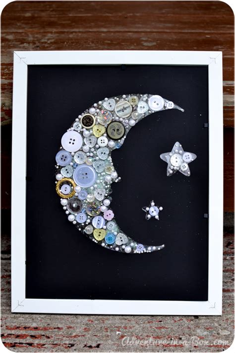 make a button moon collage 615 | moon made of buttons craft for children 20