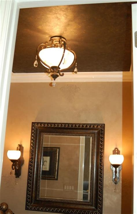 metallic plaster powder room walls  ceiling