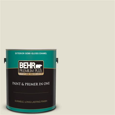 behr premium plus 1 gal 400e 2 turtle dove gloss enamel exterior paint and primer in one
