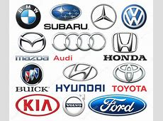 Collection of popular car logos printed on white paper
