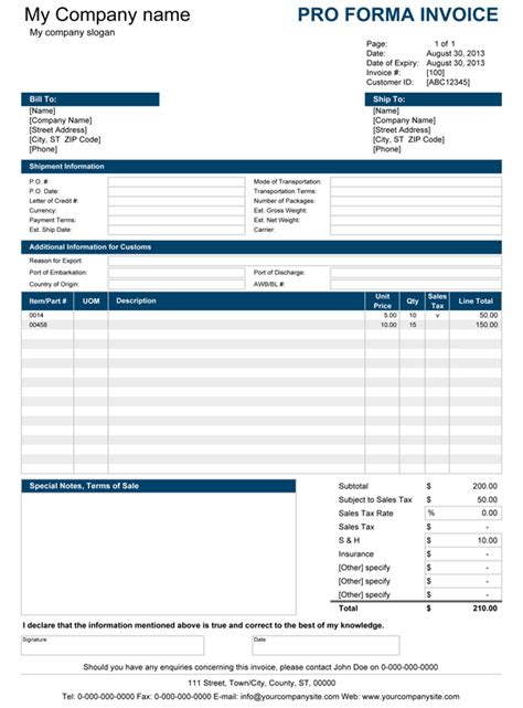 Pro Forma Template Free Proforma Invoice Template For Excel