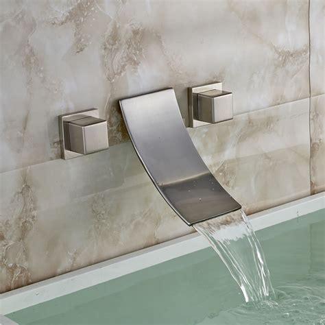 waterfall tub faucet wall mount 3 holes waterfall sink faucet dual tub