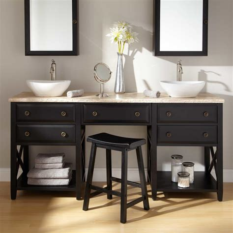 Two Vanities In Bathroom - 60 quot clinton vessel sink vanity with makeup area cherry