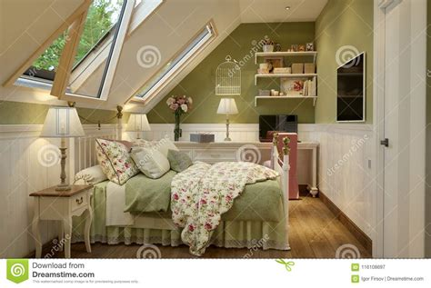 The Bedroom In The Provence Style by Interior Of The Bedroom In The Provence Style Green Stock