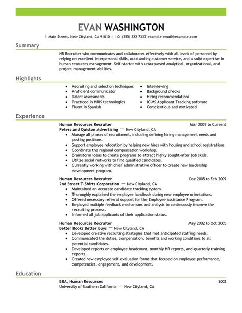 best recruiting and employment resume exle livecareer